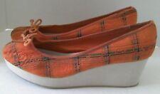 American Eagle Womens Size US 11 M Orange Plaid Bow Wedge Heel Platform Slide