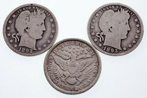 Lot of 3 Barber Quarters (1892-O, 1893-P + S) in Good to Fine Condition