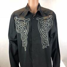 Eighty Eight Platinum Men's Black with White Trim Button-down Shirt Size XL