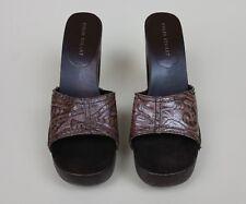 open toe pumps mules slip on wooden heels colin stuart size 10