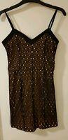 GOLDIE Ladies Cut Out Black & Yellow Bandeau Mini Pencil Dress Size Small LD465