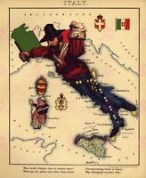 Map Antique Caricature Harvey 1868 Italy Old Large Replica Canvas Art Print