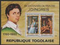 Togo #C428a MNH S/S CV$5.00 J. D. Ingres Bicentenary (Shade)