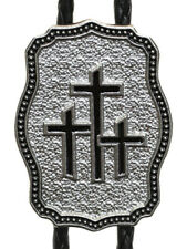 New! Western Bolo Tie Triple Cross - Silver & Black Enamel  - Made in USA