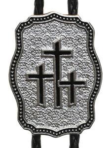 New! Western Square Dance  Bolo Tie Triple Cross - Silver & Black - Religious