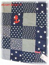 NICIART ♥ BABYDECKE ♥ PATCHWORK DECKE ♥KINDERWAGEN DECKE blau rot ♥ maritim