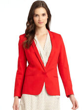 Vivienne Tam red Jagger blazer, unusual scalloped collar, hidden button