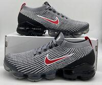 Nike Air Vapormax Flyknit 3 Men's Size Particle Grey Red/Black AJ6900-012