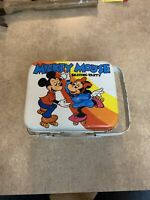 Vintage Walt Disney Mickey Mouse Skating Party 2 Handled Tin Lunch Box