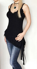 ARDEN B. Asymmetric Baby Doll Lace Tunic Top Dress Ruffled Flare Slim Fit Black