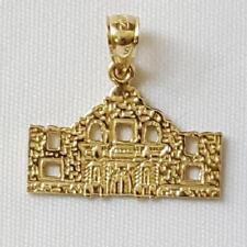 14k Yellow Gold ALAMO Mission San Antonio Texas Pendant / Charm, Made in USA