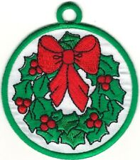 Green Christmas Holiday Wreath Bulb Ornament Embroidery Patch