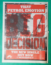 THAT PETROL EMOTION BIG DECISION SINGLE POSTER ADVERT CUTTING MM 1987 A3