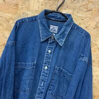 CAMBRIDGE CLASSICS MENS MID BLUE DENIM LONG SLEEVE SHIRT SIZE XL