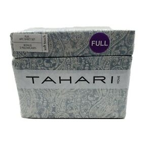 Tahari Home Soft Touch 6 Piece Paisley Blue White 100% Polyester Full Sheet Set