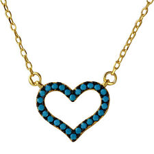925 Sterling Silver Gold Plated Open Heart Turquoise Stones Necklace