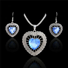 925 Silver Plated CZ Rhinestone Vintage Love Heart Necklace Earrings Jewelry Set