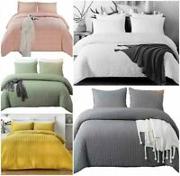 Seersucker Duvet Cover Double Super King Size Luxury Egyptian Cotton Bedding Set