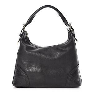GUCCI Black Pebbled Calfskin Guccisima Trim Signoria Hobo Bag
