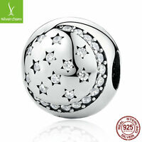 TWINKLING NIGHT Authentic 925 Silver/Clear CZ MOON STARS Clip Charms Beads NEW