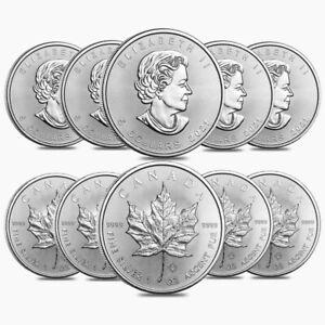 Lot of 10 - 2021 1 oz Canadian Silver Maple Leaf .9999 Fine $5 Coin BU