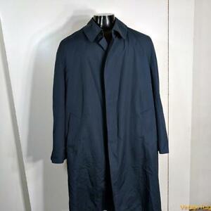 MISTY HARBOR Vtg Long RAINCOAT Rain Trench Coat Mens Size 42L 42 Long Blue Liner