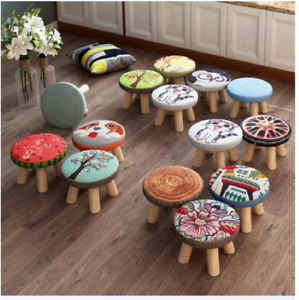 Solid Wood Shoe Stool Door Wear Square Child Living Room Cloth Art Small Sofa