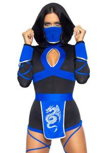 Womens Short Blue Dragon Ninja Costume