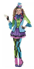 Sassy Mad Hatter Alice In Wonderland Girls Costume Fairytale Childrens 10-12yrs