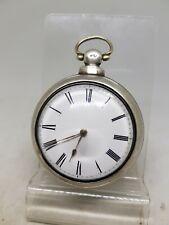 Antique silver pair cased fusee verge W. Hopkin pocket watch 1855 W/O ref1122
