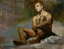 """Nude Male Reading In Bed Oil Painting on Stetched Canvas 8""""x10"""" by O. Marrero"""
