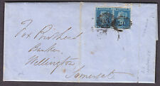 "1841 2d BLUE PAIR LETTERS "" OJ - OK "" PLATE 4 WITH 4 MARGINS ON COVER"