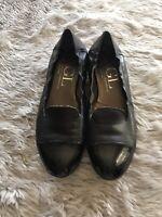 AGL Solid Black Patent Toe Cap Leather Smoking Flats Women's EU 39.5 US 8.5