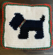 Vintage Handmade Knit CHRISTMAS Scottie Dog Throw Pillow Jingle Bells