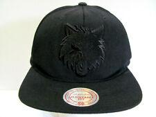 NBA Minnesota Timberwolves Hat Mitchell & Ness Black Snapback Flat Cap Wool Bl