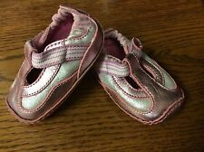 Stride Rite girls shoes baby size 1 month wide pink silver leather  F28