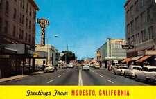 Modesto California Street Scene Greeting Vintage Postcard K90225