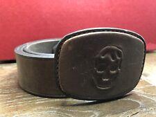 Alexander McQueen Brown Leather 3D Skull Buckle Belt Size XL $565 44 IN / 110 CM