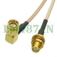 "cable SMA male plug right angle to SMA female jack bulkhead RG316 6"" pigtail FPV"