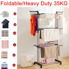 Heavy Duty Foldable Clothes Airer Clothes Garment Rack Stand Indoor Outdoor 35KG