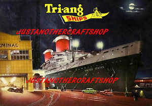 Triang Minic Ships 1962 SS United States Poster Leaflet Advert Shop Display Sign