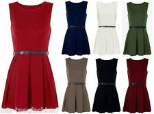 Womens Sleeveless Skater Dress Ladies Belted Pleated Short Party Top