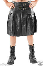 Mens Leather Kilt  Pleated with Twin Buclkes  Most Sizes