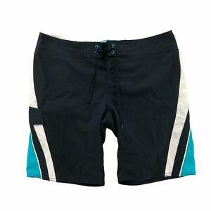 Vans Mens 33 Board Shorts Black Teal Swim Surf Active Bottoms
