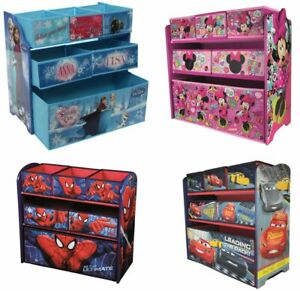 Disney Kinderregal aus Holz mit Aufbewahrungsboxen, Kindermöbel, Spielzeugregal