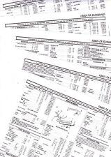 1978 1979 1980 PONTIAC SUNBIRD BODY PARTS LIST PART NUMBERS CRASH SHEETS **