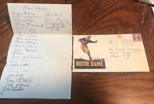 1935 Notre Dame football team AUTOGRAPH sheet w/ envelope 25 signatures LAYDEN +