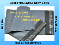 40 X EXTRA LARGE GREY MAILING PACKING POSTAL STRONG POLY BAGS 10X14&12X16&13X19