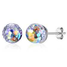 Round Ball Stud Earrings Fashion Silver Crystal Disco Sparking 6mm Ear Set Gift