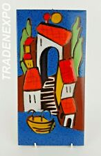 Vintage 60s/70s AGROB ISMA KERAMIK  VILLAGE Wall Plaque German Art Fat Lava Era